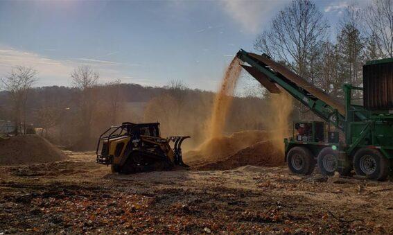 organic mulch sifting and turning