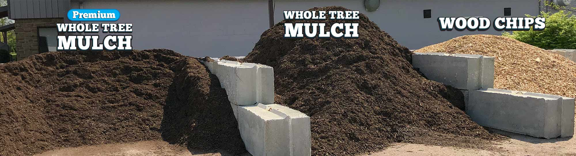 organic mulch in bins with labels
