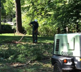 Arborist cutting a trench with air knife